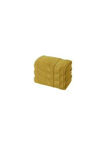 Bella Maison %100 Pamuk Premium Beyaz 3′lü Havlu Seti (30x50 cm) Hardal